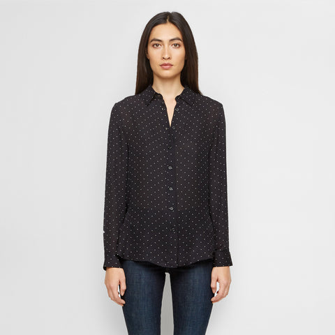 Silk Polka Dot Boyfriend Shirt - Black/Ivory - Final Sale