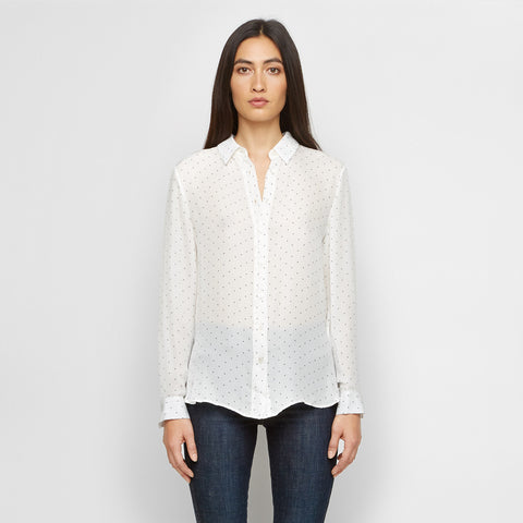Silk Polka Dot Boyfriend Shirt - Ivory/Black - Final Sale