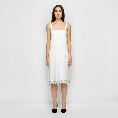 Silk Scallop Band Dress - Ivory/Navy