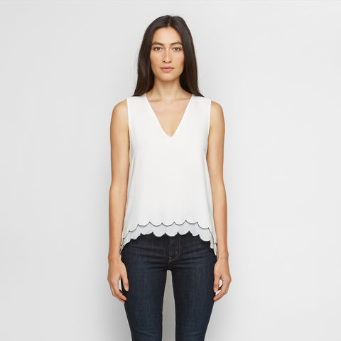 Silk Scallop Shell Tank - Ivory/Navy - Final Sale