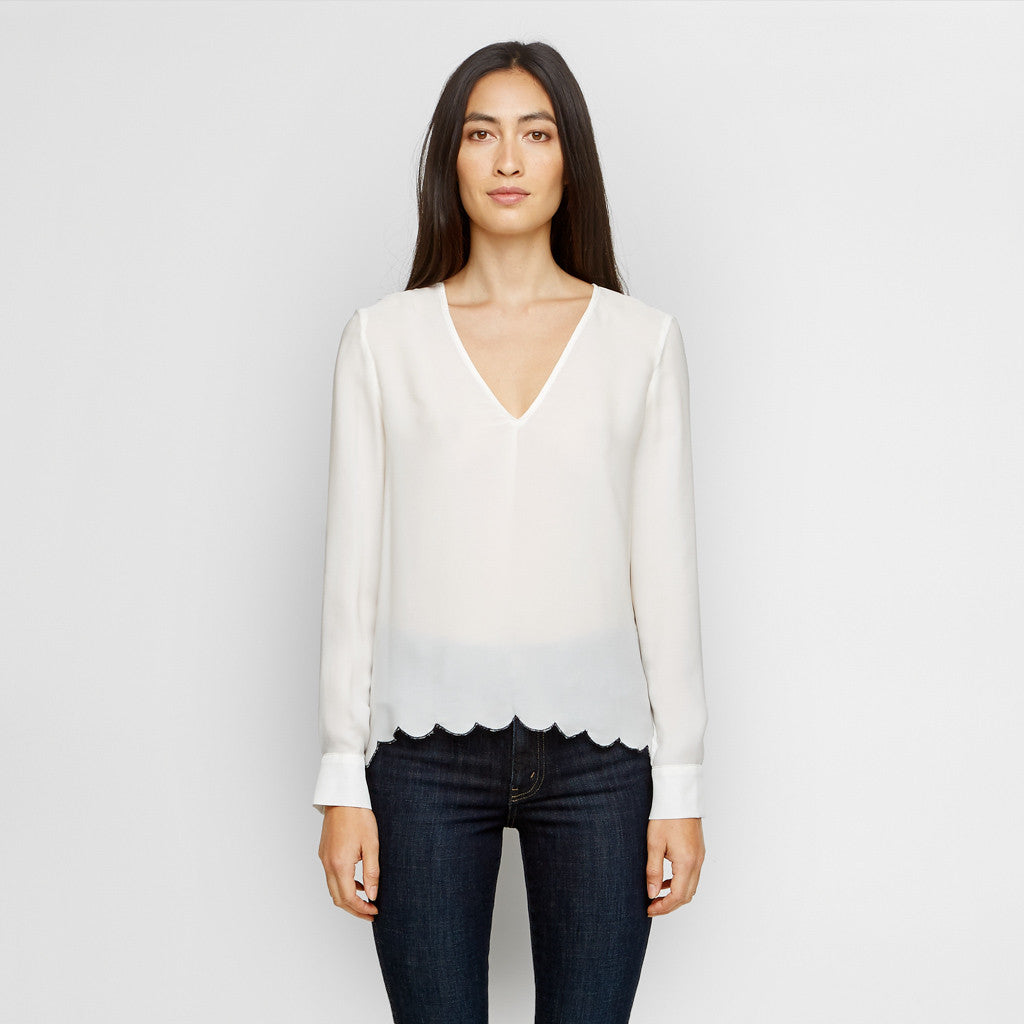 Silk Scallop Top - Ivory/Navy - Final Sale