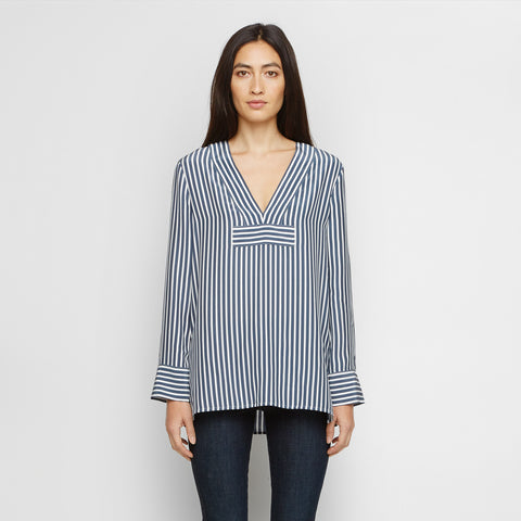 Silk Striped Kaftan - Navy/Ivory - Final Sale