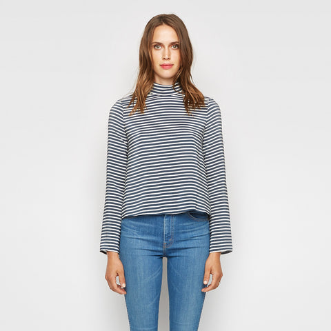 Silk Striped Mockneck Top - Navy/Ivory - Final Sale