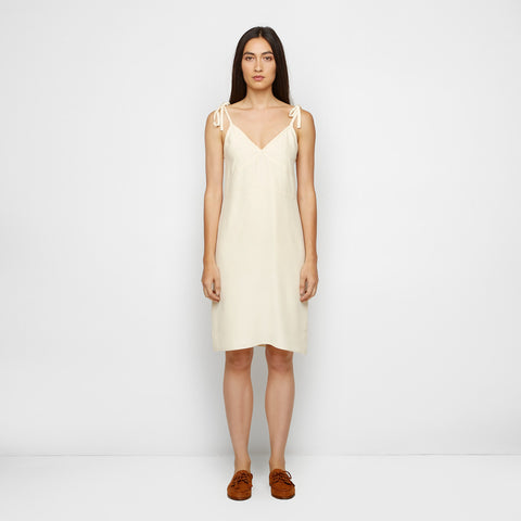 Silk Tie Slip Dress - Wheat