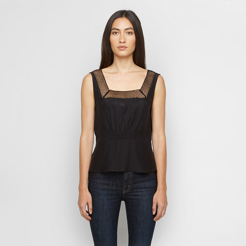 Silk Top with Lace - Black - Final Sale
