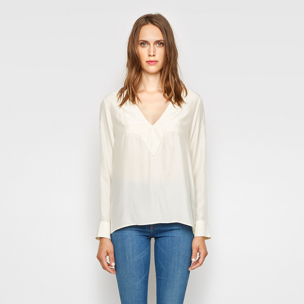 Silk V Neck Star Top - Ivory - Final Sale