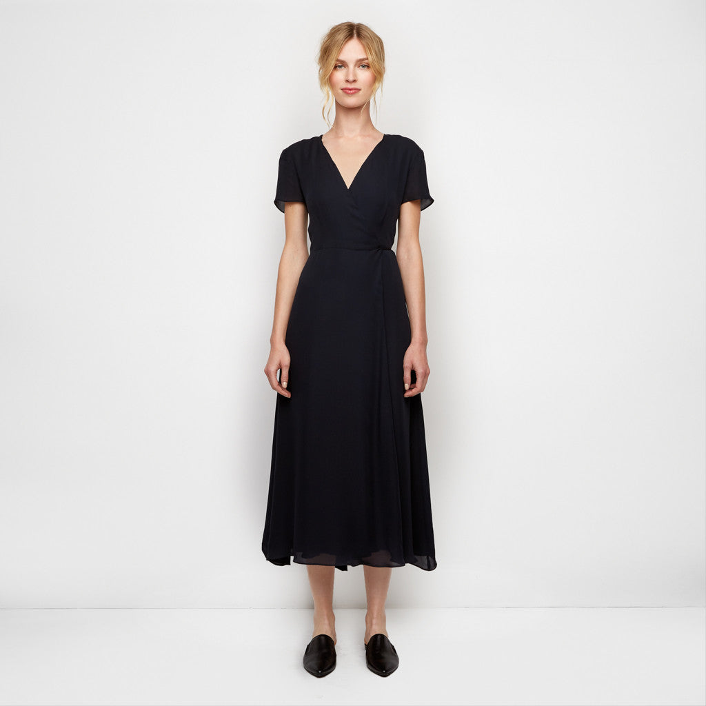 Silk Wrap Dress - Navy