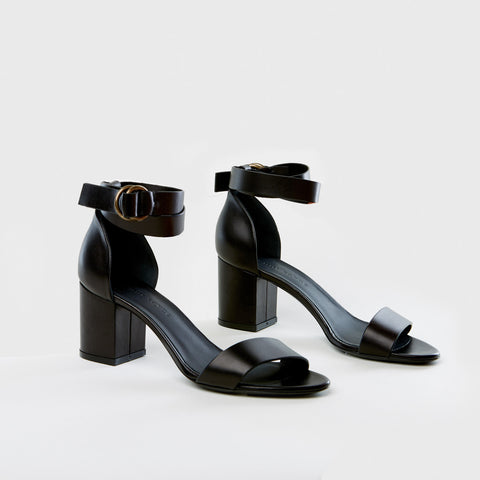 Strap Mid Heel Sandal - Black Leather