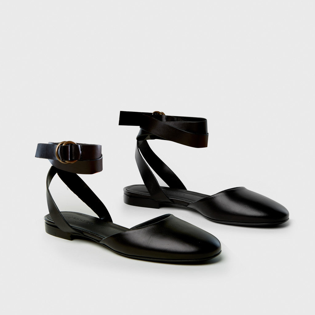 Strap Ballet Flat - Black Leather