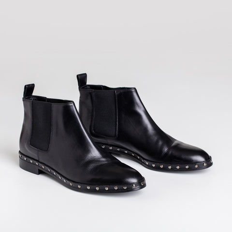 Studded Chelsea Boot - Black Leather