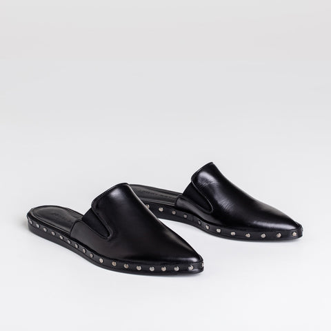 Studded Mule Slide - Black Leather - Final Sale