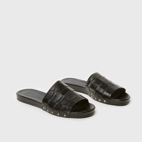 Studded Slide Sandal - Black Croc-Embossed Leather