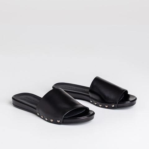 Studded Slide Sandal - Black Leather