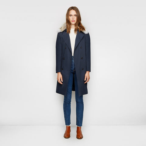 Trench with Fur Collar - Navy - Final Sale