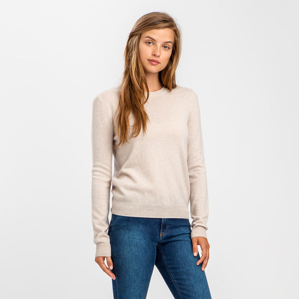 Wool Cashmere Cropped Crewneck Sweater - Latte