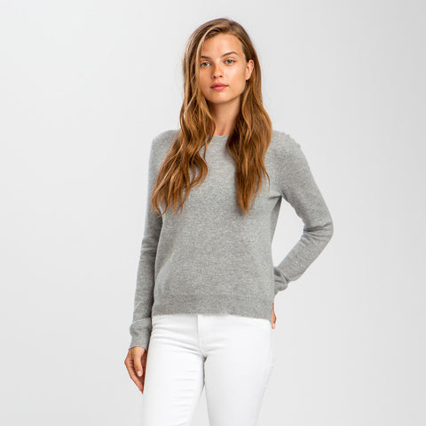 Wool Cashmere Cropped Crewneck Sweater - Light Heather Grey