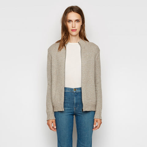 Wool Mockneck Cardigan - Oatmeal - Final Sale