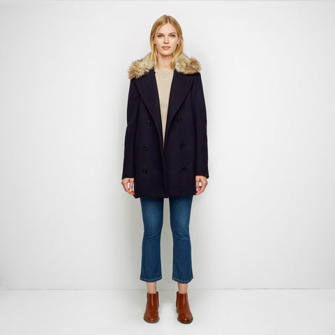 Wool Peacoat with Fur Trim - Navy