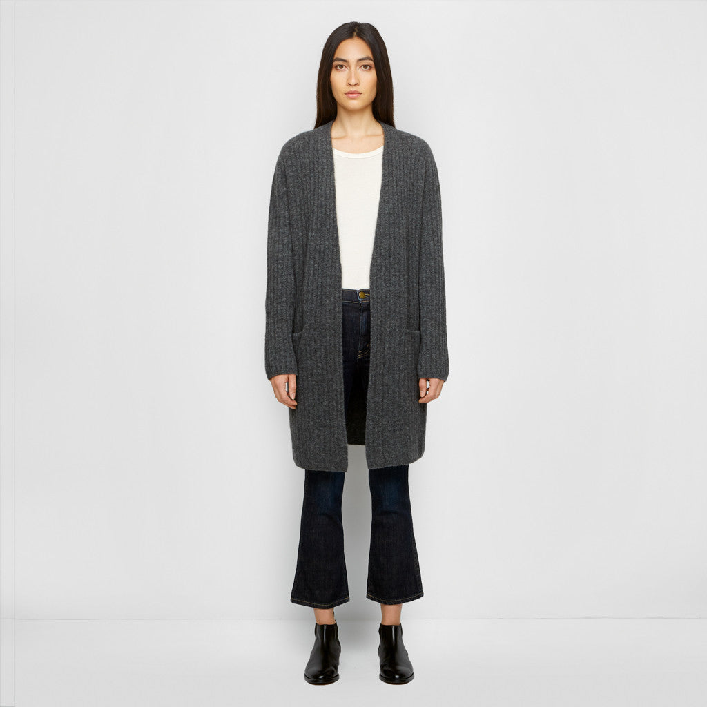 Yak Ribbed Sweater Coat - Charcoal