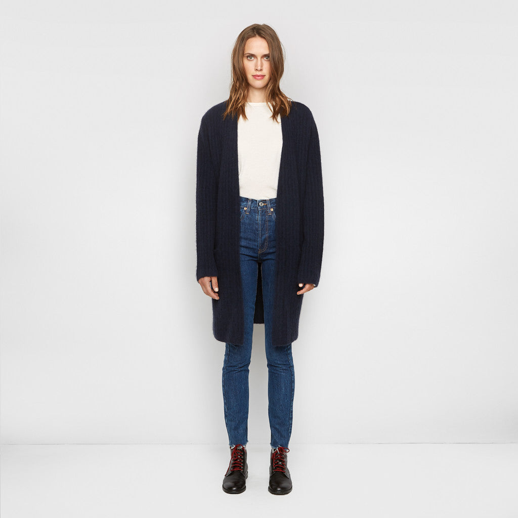 Yak Ribbed Sweater Coat - Navy