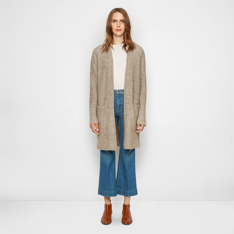 Yak Ribbed Sweater Coat - Oatmeal