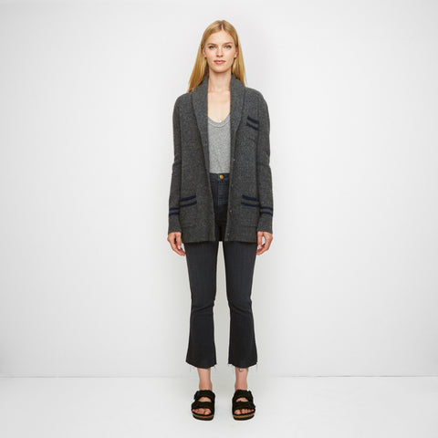Yak Shawl Cardigan - Charcoal/Navy - Final Sale