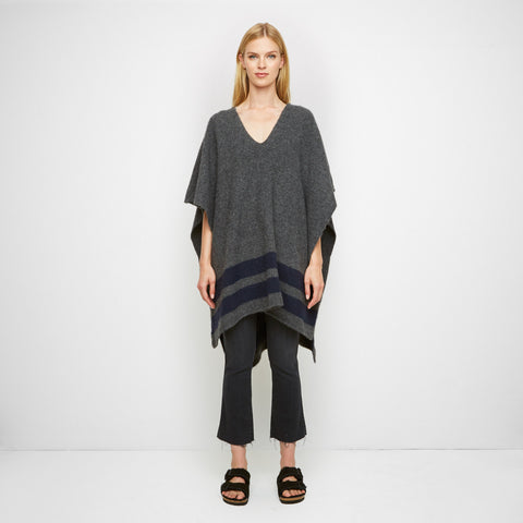 Yak Stripe Poncho - Charcoal/Navy - Final Sale