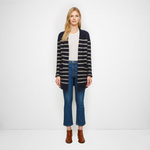 Yak Sweater Coat - Oatmeal/Navy