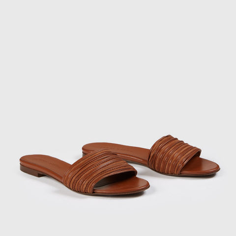 Knotted Slide Sandal - Saddle Leather