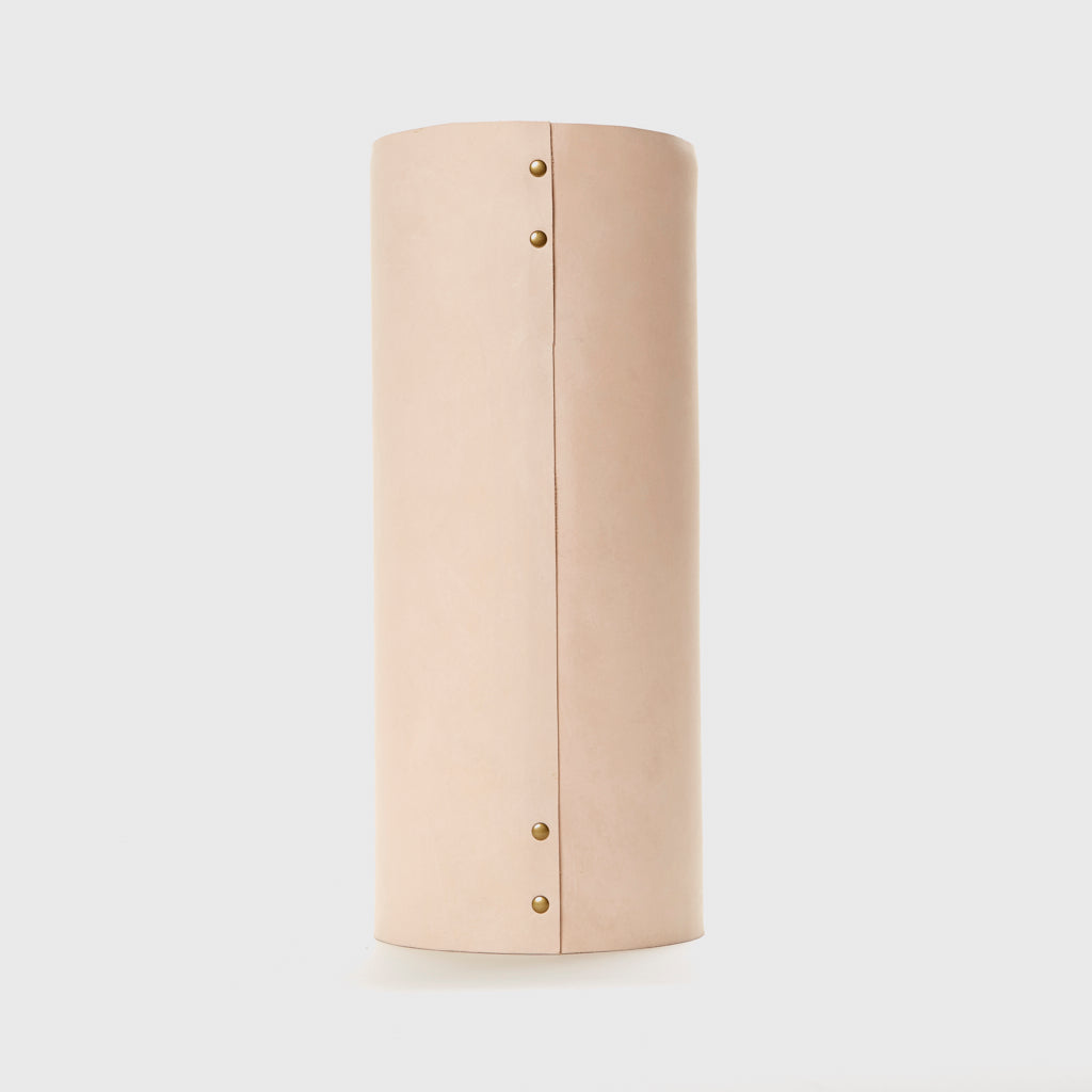 Large Leather Rivet Vase - Natural