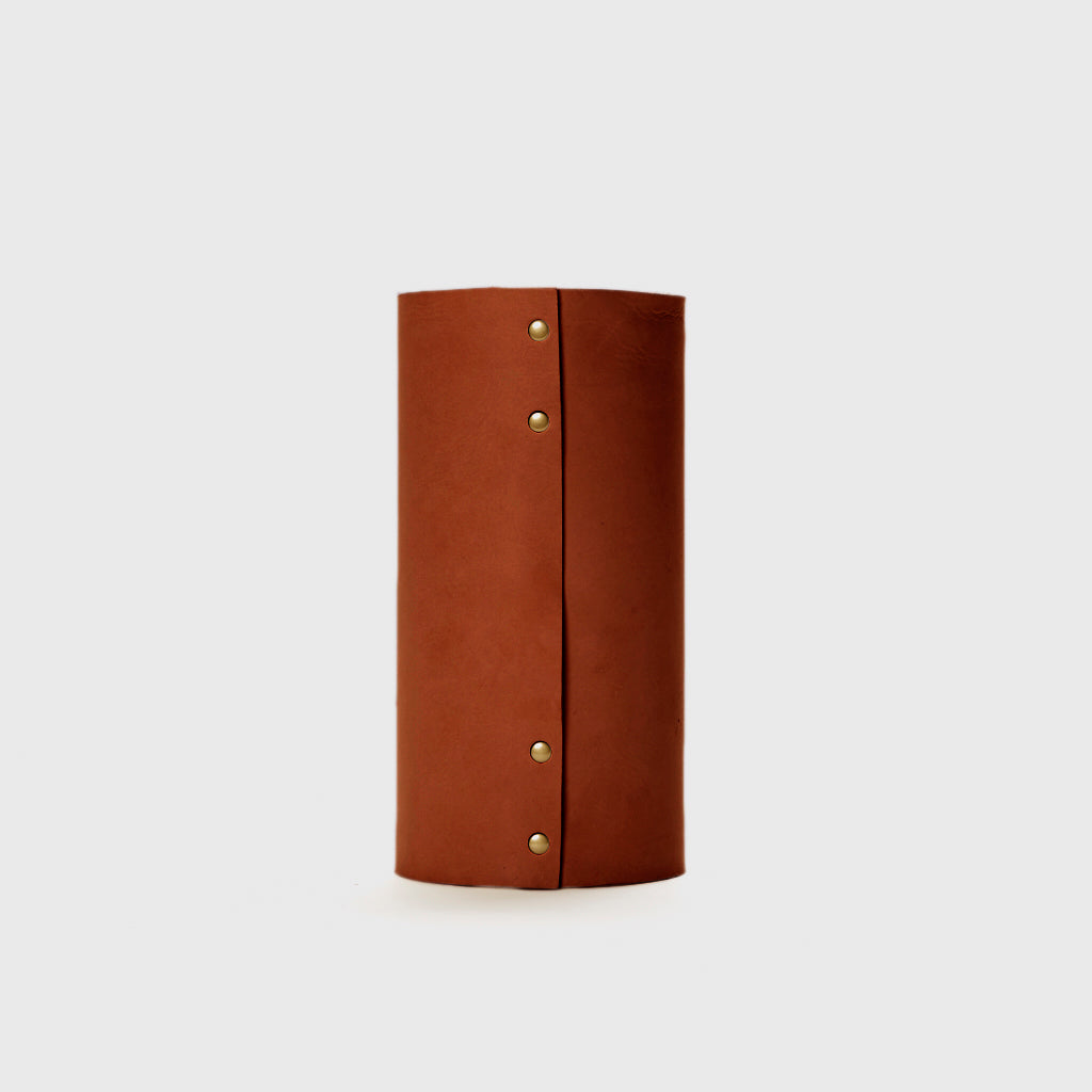 Medium Leather Rivet Vase - Saddle
