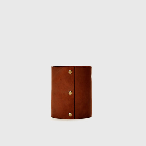 Small Leather Rivet Vase - Saddle
