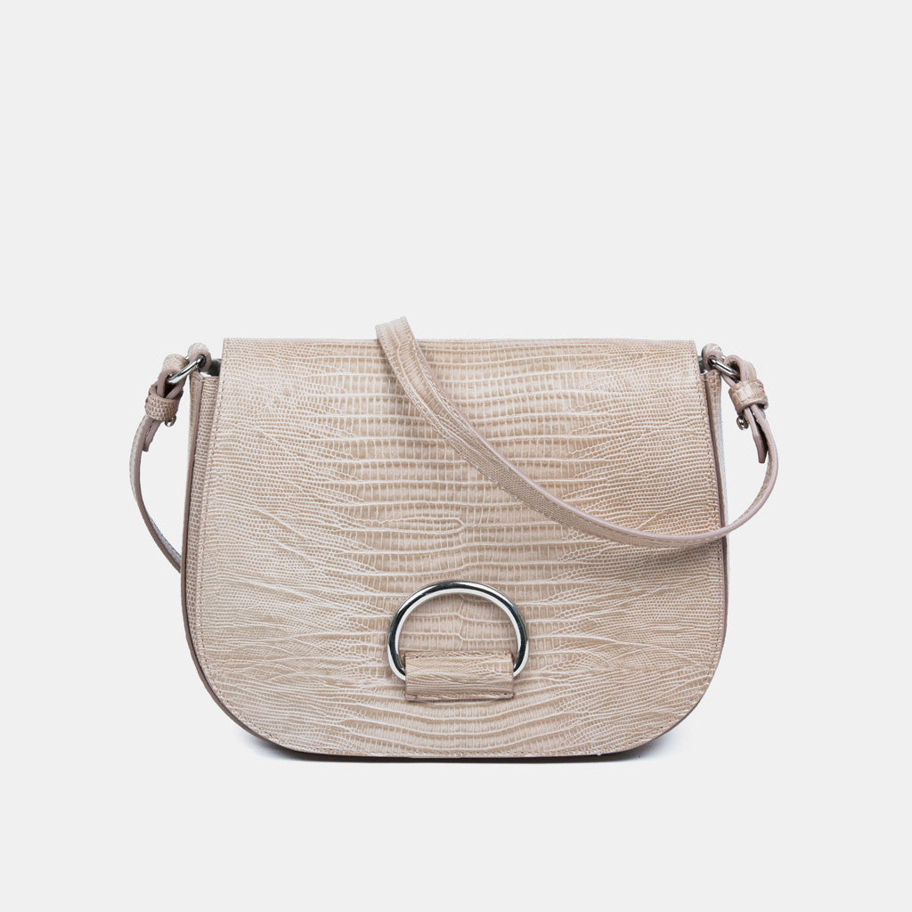 D Saddle Bag - Powder Lizard-Embossed Leather