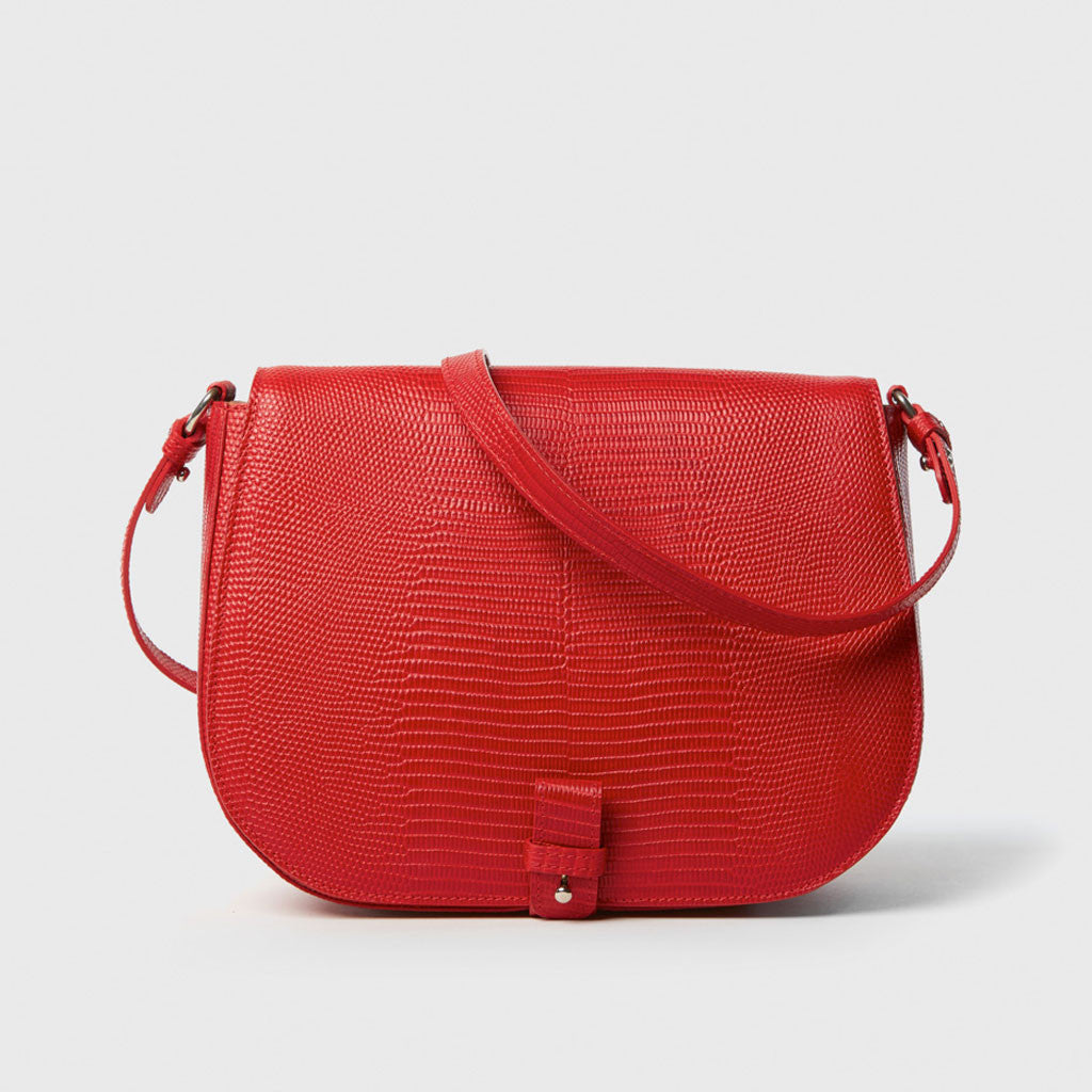 Saddle Up Bag - Red Lizard-Embossed Leather