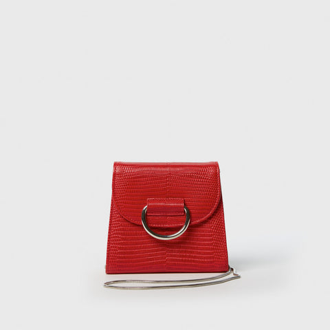 Tiny Box Bag - Red Lizard-Embossed Leather