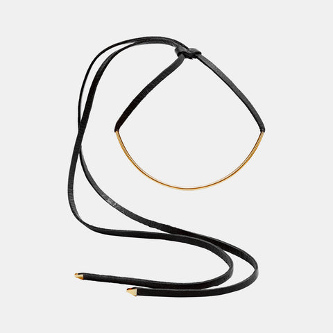Leather Gold Tube Necklace
