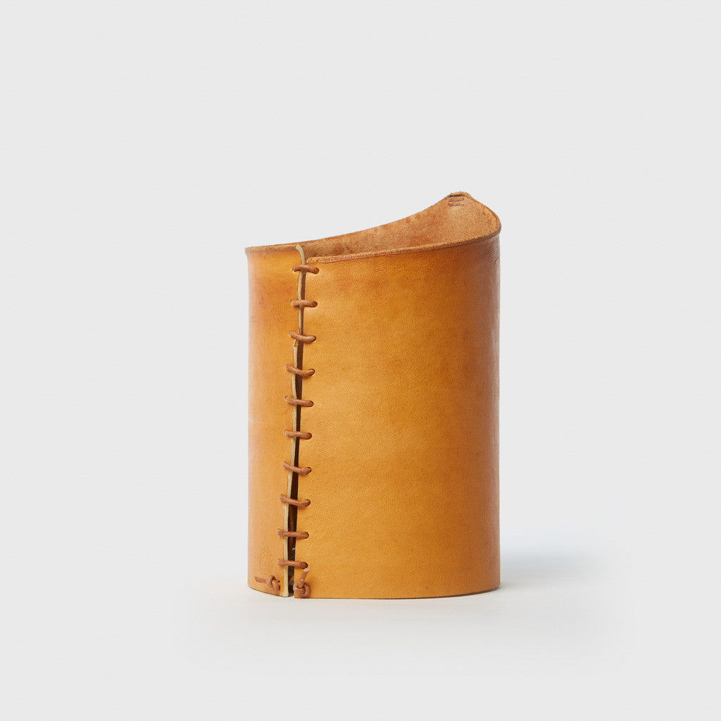 Leather Wrapped Vase - Tan