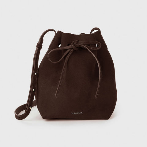 Suede Bucket Bag - Chocolate