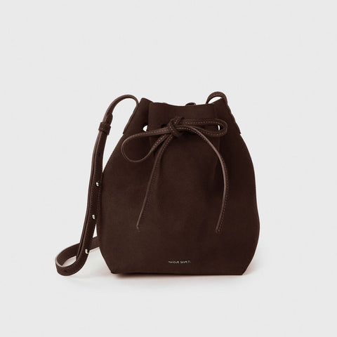Suede Mini Bucket Bag - Chocolate