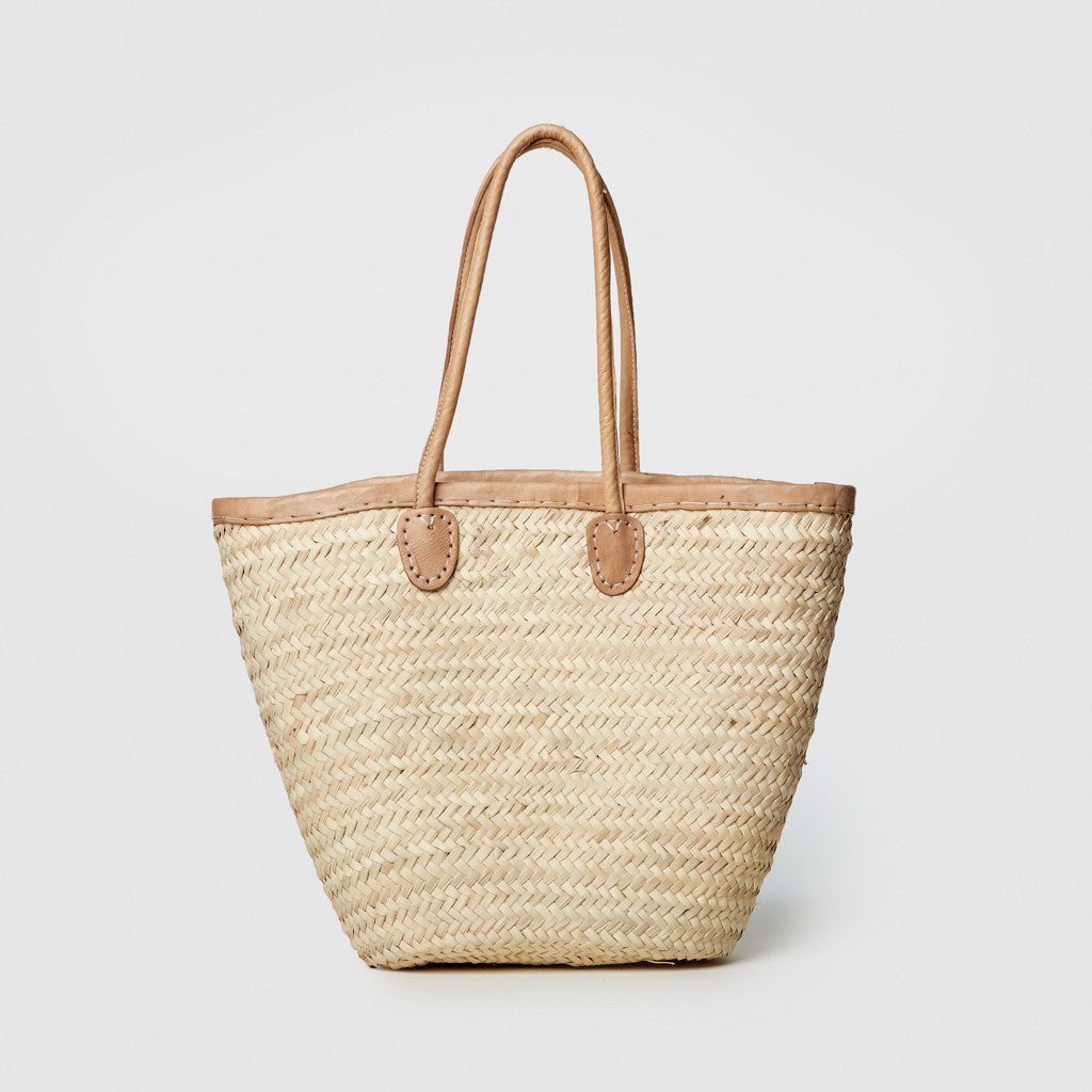 Market Basket with Leather Handles - Natural