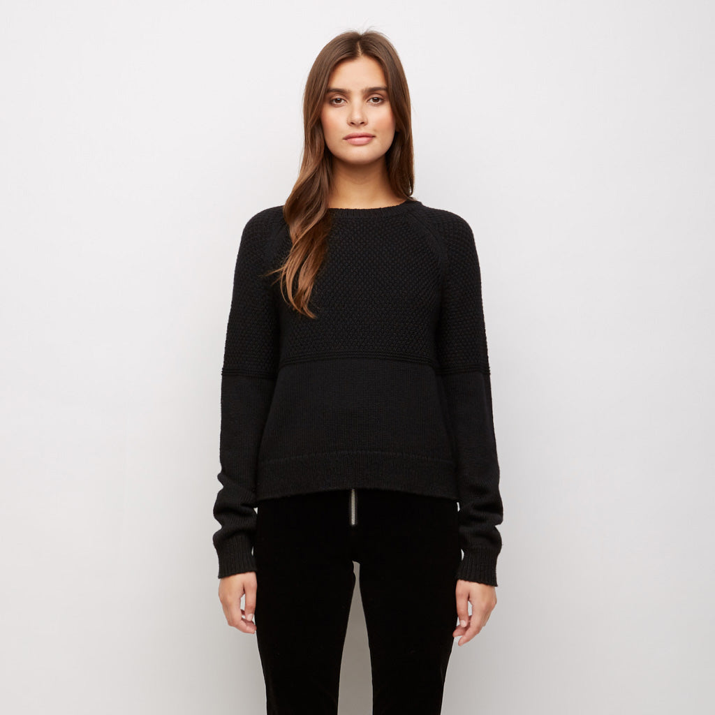 Merino Mix Stitch Sweater - Black