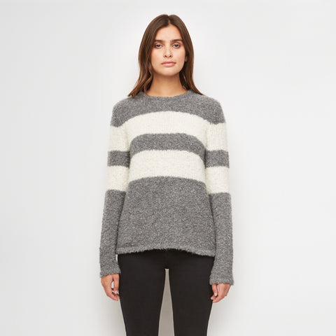 Merino Stripe Boucle Sweater - Grey/Ivory