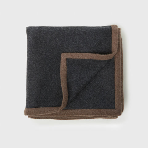 Arte Woven Cashmere Throw - Charcoal/Stone Brown