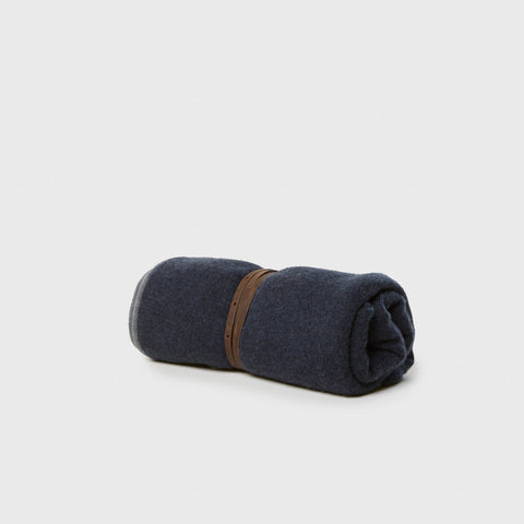 Daya Cashmere Throw - Indigo with Brown Leather Strap