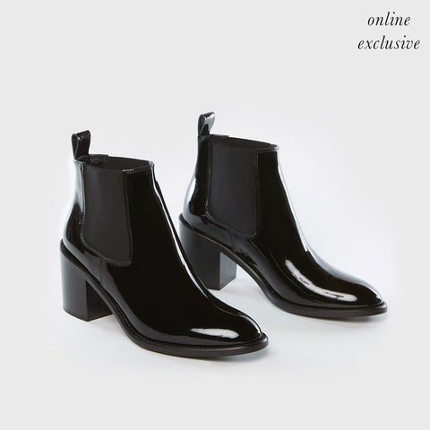 Heeled Chelsea Boot - Black Patent Leather