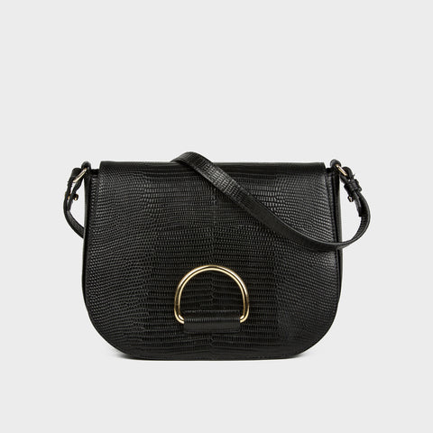 D Saddle Bag - Black Lizard-Embossed Leather