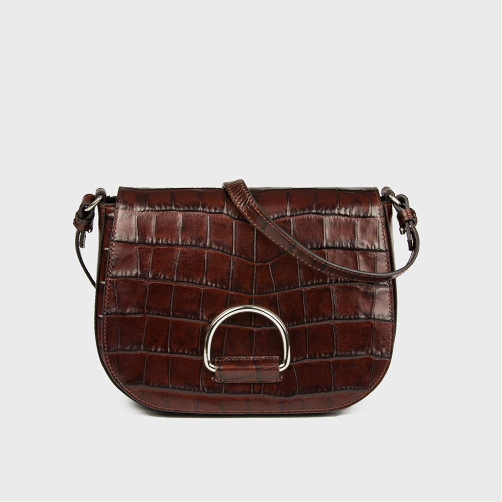D Saddle Bag - Chocolate Croc-Embossed Leather