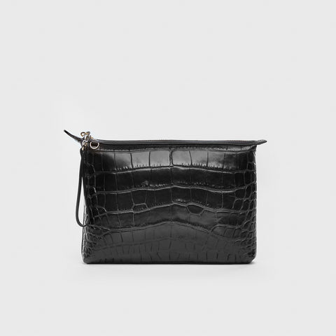 Mini Pouch - Black Croc-Embossed Leather