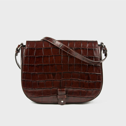 Saddle Up Bag - Chocolate Croc-Embossed Leather