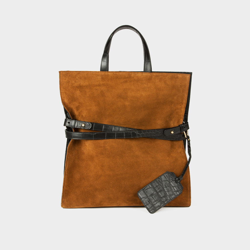 Tote All Mighty Bag - Toffee/Black Suede and Croc Embossed Leather